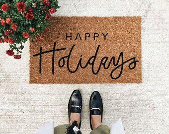 happy holiday doormat | christmas doormat | hello welcome mat | hand painted, custom doormat | cute doormat | outdoor doormat | wedding gift