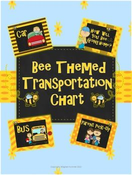 Helpful Transportation Chart to place within the classroom. Bee Themed. This chart is a great visual for the teachers and students at the beginning of the year, as well as for substitutes.