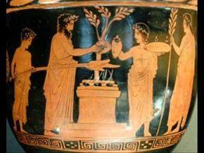 Historia de la cocina de la antigua Grecia, así como protocolo, literatura y poemas ilustrativos.