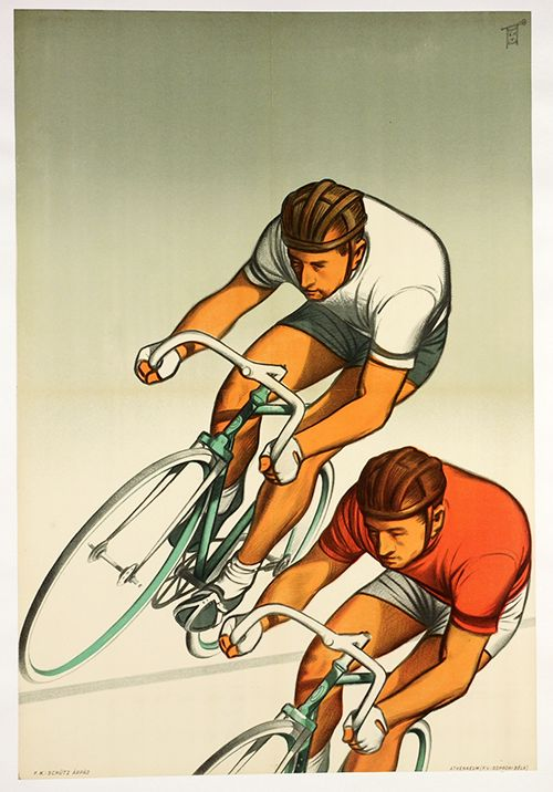 Bicycle Racers Vintage Hungarian Bicycle Poster                                                                                                                                                                                 More