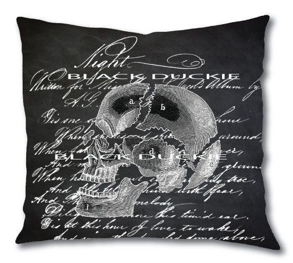 Chalkboard Skull Pillow Cover Script Skull Spooky Pillow