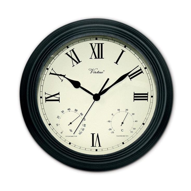 12 Battery Operated Black Large Print Roman Numeral Outdoor Clock, Thermometer and Hygrometer, White