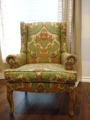 Re doing Wing back chairs: Decor Chairs, Chairs Reupholsteri, Reupholsteri Tutorials, Crafts Ideas, Diy Furniture, Chairs Upholstery, Wingback Chairs, Diy Projects, Crafty Ideas