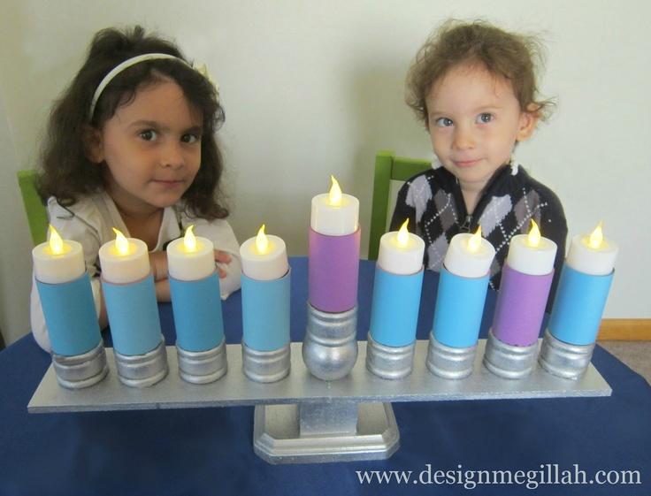 Design Megillah-menorah using battery operated tea lights