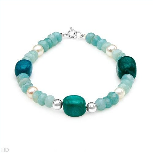 Superb Brand New Bracelet With 24.00ctw Precious Stones - Genuine Jaspers, 5-6.5mm Freshwater Pearls and Quartz Beautifully Designed in 925 Sterling silver. Total item weight 11.5g  Length 7in - Certificate Available.