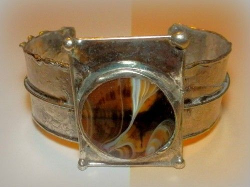http://megasilver.pl/Bransoleta-p367 #Bracelet #metalwork #handmade #white #brown #agate #stone #jewelry #jewellery