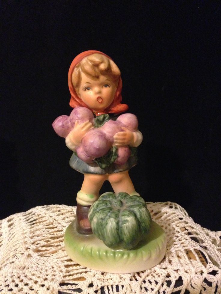 Hummel Like Japan Figurine Girl with Grapes and Pumpkin Collectible German Girl…