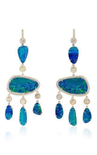 18k white opal chandelier earrings by NINA RUNSDORF Preorder Now on Moda Operandi