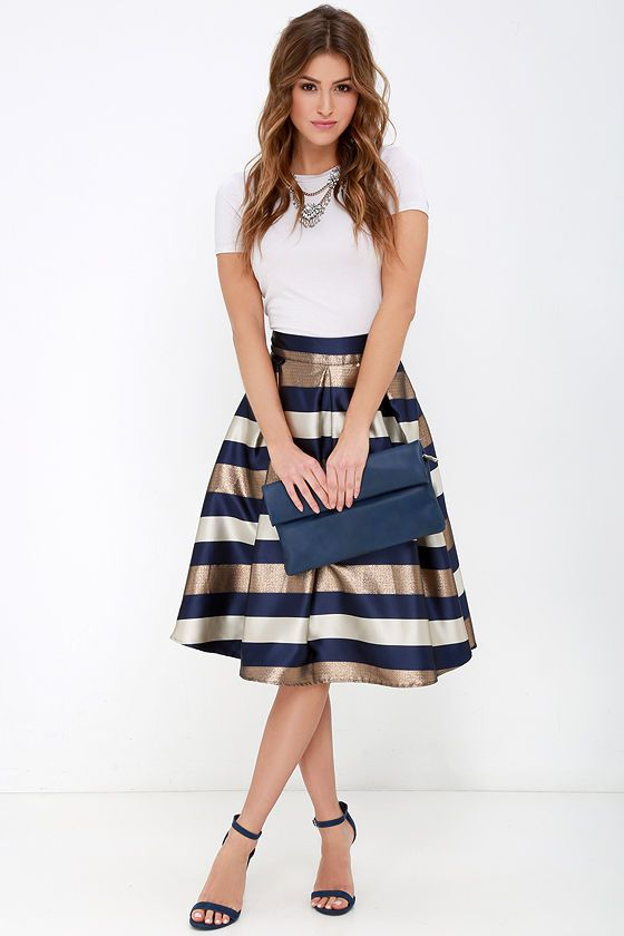 Dock of the Bay Navy Blue and Bronze Striped Midi Skirt at Lulus.com!