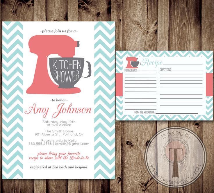 Kitchen Shower Invitation And Recipe Card Kitchen By Part 39