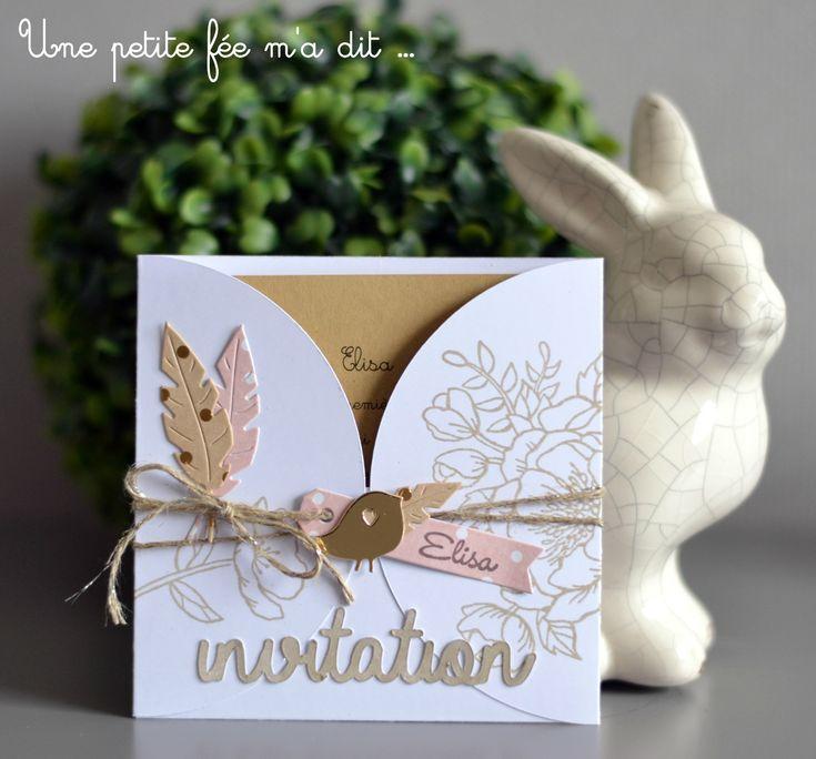 Invitation DIY Scrap Communion Rose Romantique