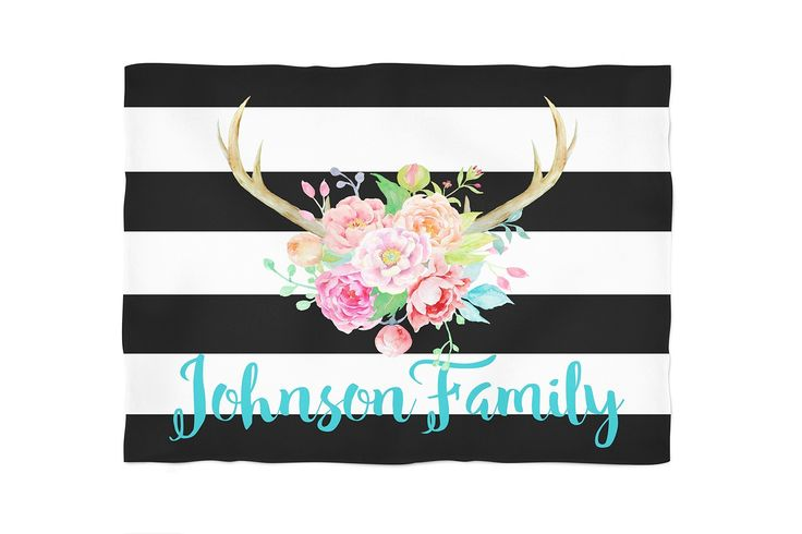 Rustic Antlers Black and White Stripes Watercolor Flowers Personalized Throw Blanket. Cuddle up with one of our personalized, super soft blankets. You choose between our standard, soft fleece or the super soft, plush furry fleece. Both are printed using water based eco friendly dyes. They come in three sizes: small (40x30), medium (60x50) or large (80x60). The standard fleece is printed on one side, as the plush is printed on both. All are machine washable and sure to be a family favorite.