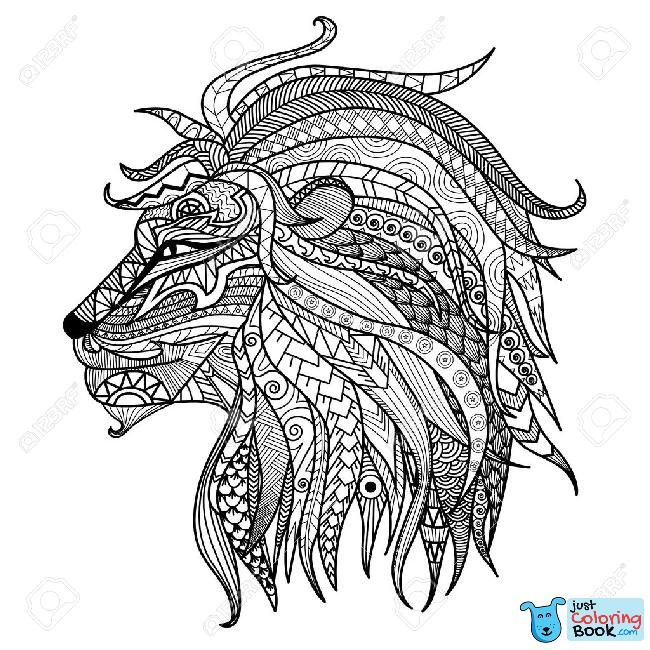 Hand Drawn Lion Coloring Page With Abstract Lion Coloring Pages Printable Free Download Downl Lion Coloring Pages Animal Coloring Pages Mandala Coloring Pages