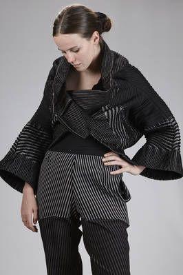 Issey Miyake | short pea coat in multicolored polyurethane, nylon, cotton and polyester velvet | #isseymiyake