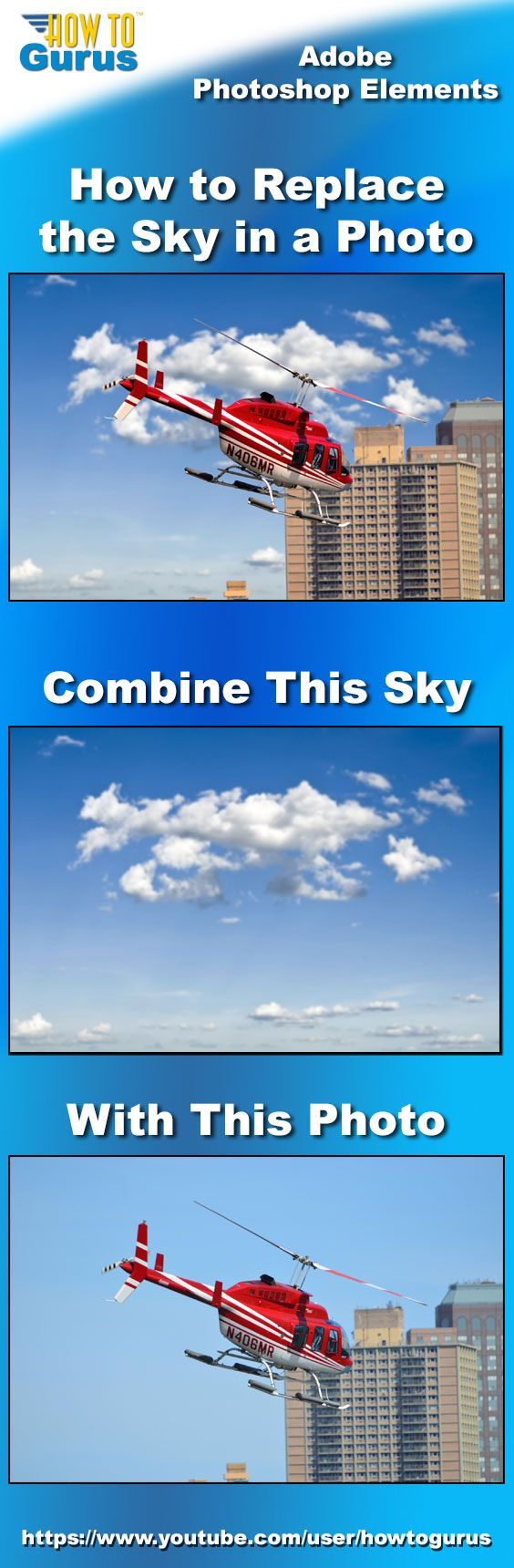 How to Replace a Sky using Photoshop Elements 15 14 13 12 11. Improve your photograph with a new sky!