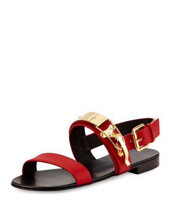 Ski-Buckle Leather Strap Sandal, Red by Giuseppe Zanotti at Neiman Marcus.