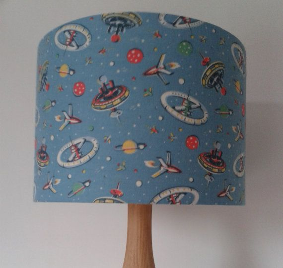 Handmade Lamp Shade with Vintage Retro Material (Spaceships)