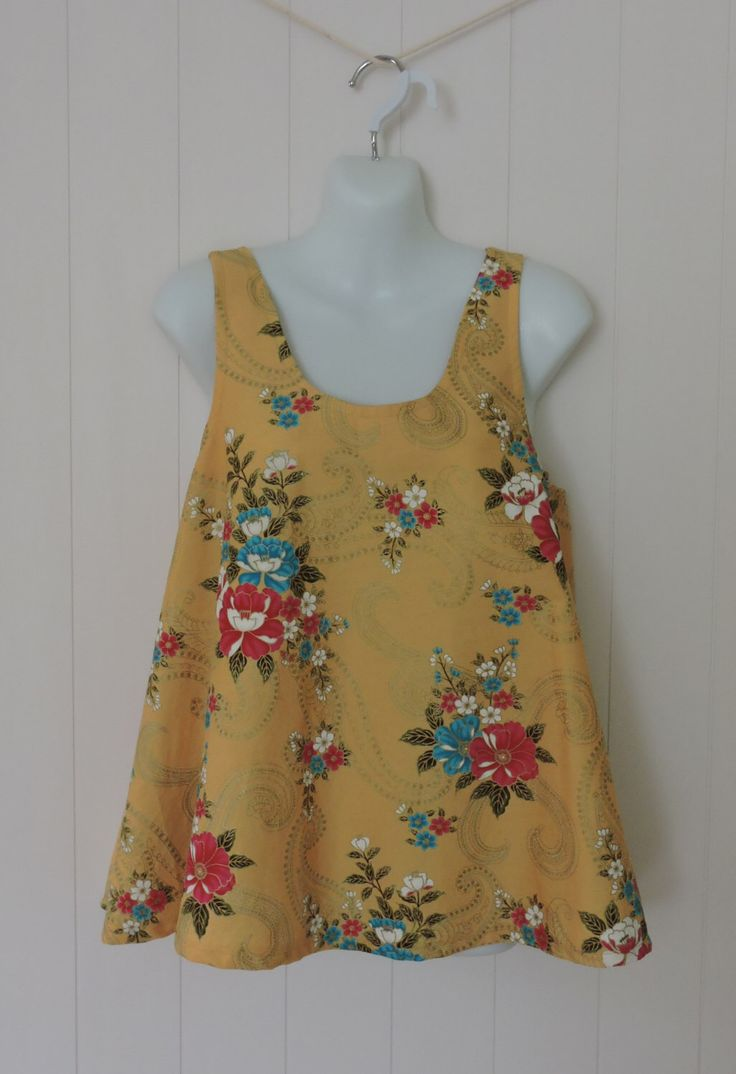 Woman's Top, Girls Top, Sizes 14 - 18, Handmade, Upcycled Thai Cotton, Floral, Sleeveless by dezignhub on Etsy https://www.etsy.com/au/listing/248417403/womans-top-girls-top-sizes-14-18