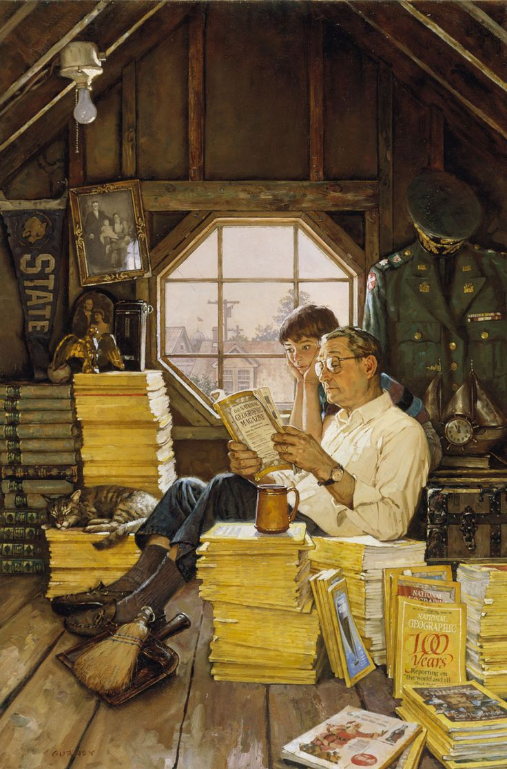 I love everything about this! Attic Scene painted by James Gurney. Gurney is the artist and author best known for his illustrated book series Dinotopia. He specializes in painting realistic images of scenes that can't be photographed, from dinosaurs to ancient civilizations. Gurney taught himself to draw by reading books about the illustrators Norman Rockwell and Howard Pyle.