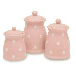 3 Piece pilka dot canister set