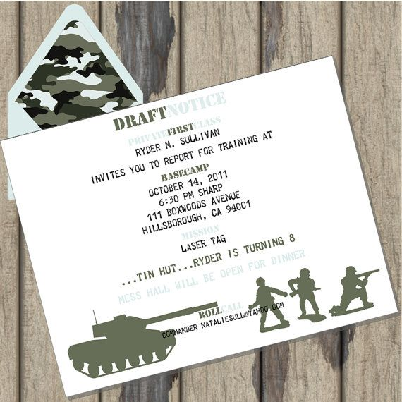 Army Camo Birthday Party Cusomized Invitations by InkspotWorkshop, $22.50
