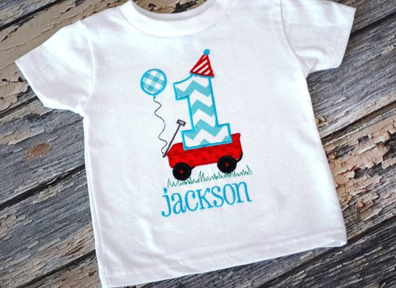 Little Red Wagon Birthday T-shirt  - First Birthday, Smash Cake Pics - Little Red Wagon Red Aqua