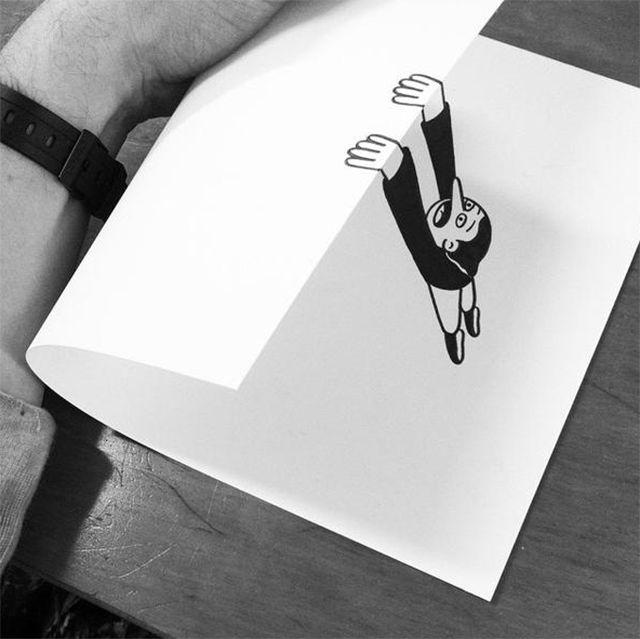 Street Artist kreiert raffinierte Illusionen auf gefaltetem Papier