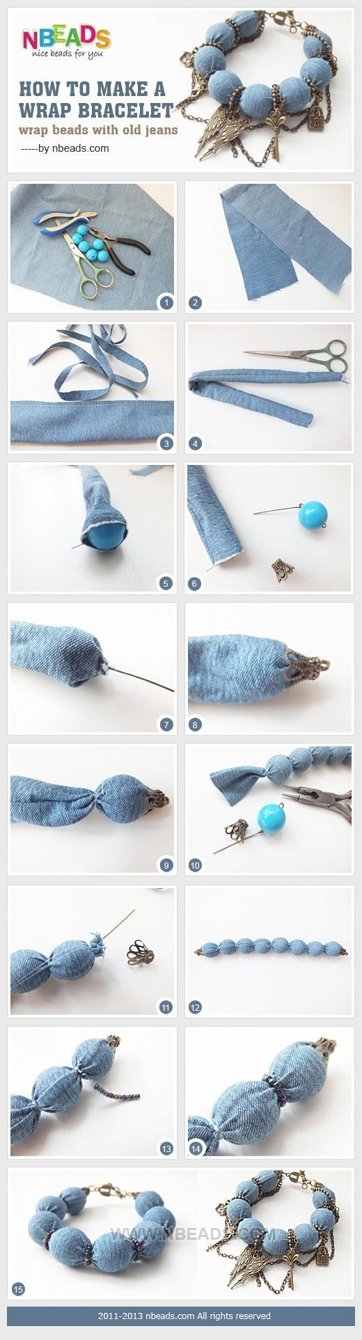 How to Make A Wrap Bracelet - Wrap Beads with Old Jeans by Amanda Wong | Project | Jewelry / Bracelets | Kollabora: