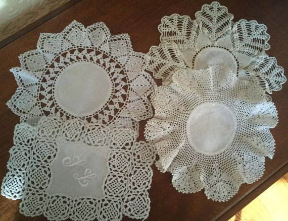 Vintage Linens Lot C  4 Doilies  Wide by 4HollyLaneAntiques