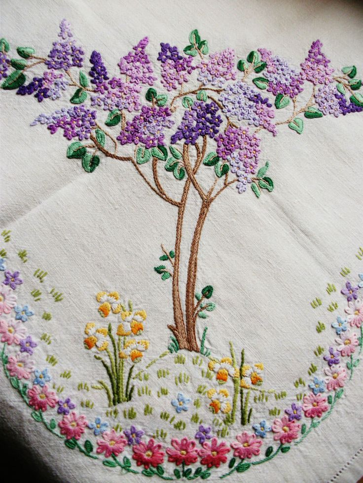 "Vintage Hand Embroidered Linen Tablecloth - LILAC & DAFFODIL FIELDS - 40"" X 41"" in Antiques, Fabric/ Textiles, Embroidery 