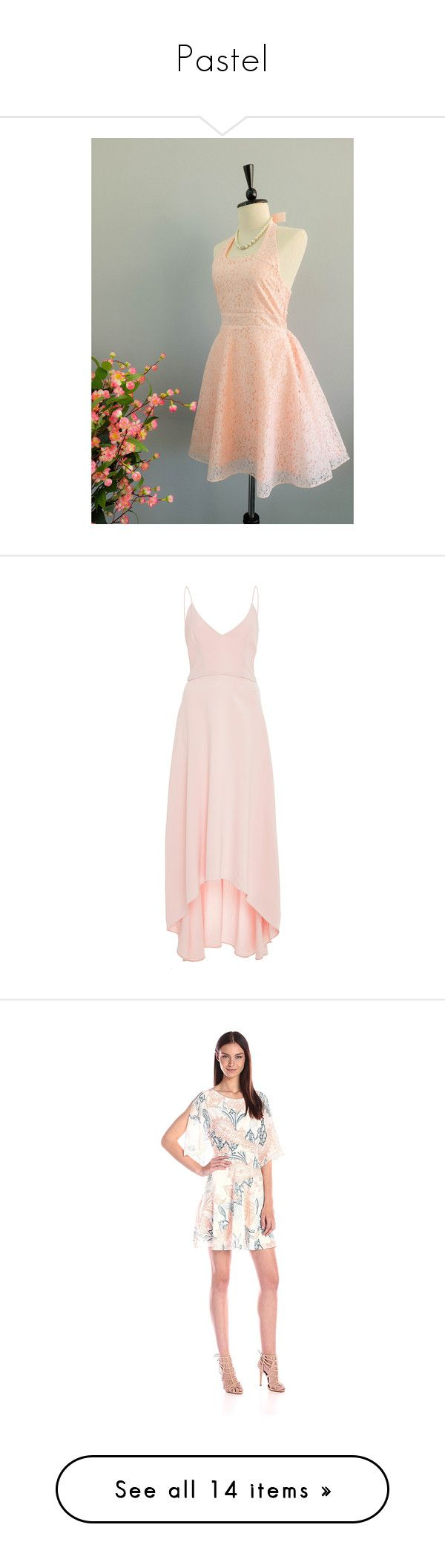 """""""Pastel"""" by ivelascoart ❤ liked on Polyvore featuring dresses, silver, women's clothing, lace dress, lace cocktail dresses, pink lace dress, short prom dresses, lace prom dresses, neutral and high low dresses"""