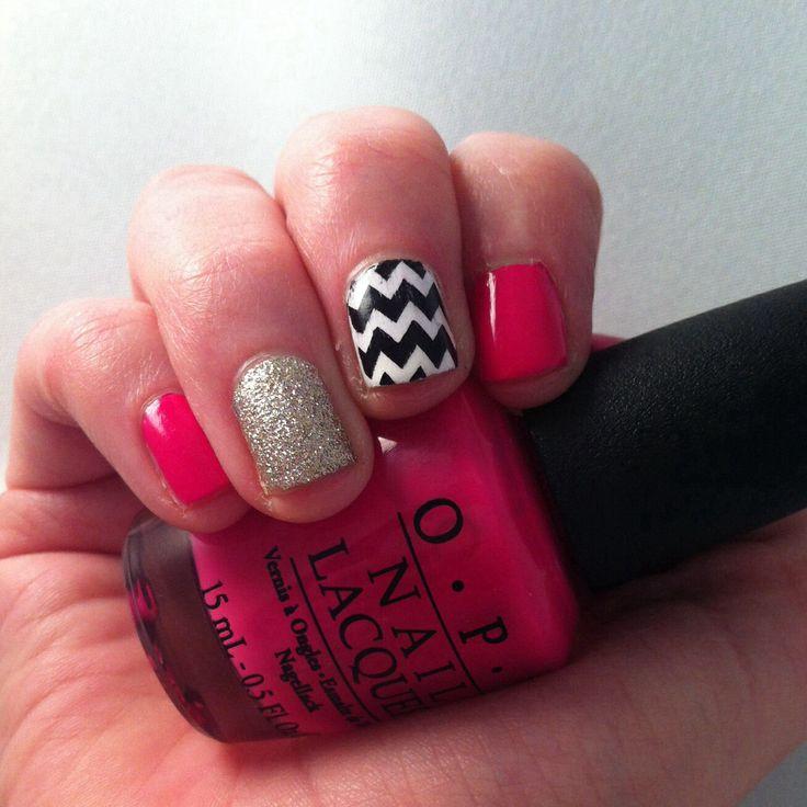 Super girly nails. Bright pink, glitter and chevron!