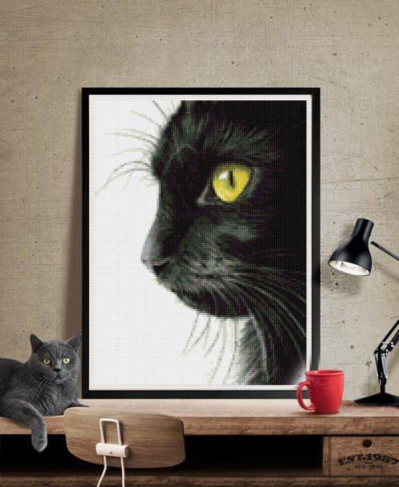 Black cat cross stitch modern pattern, gato negro punto de cruz moderno descarga inmediata jpg. cat cross stitch pattern de Lenyboop en Etsy