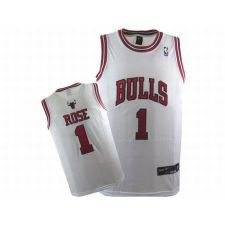 NBA Bulls Rose #1 White Swingman Jersey Red