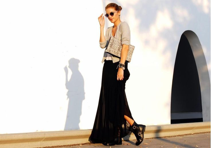 Long skirt with boots
