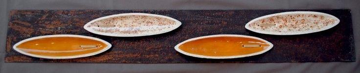 "Gabrella Civitate - ""COSTURAS 5"" Esculturas de parede - cerâmica e ferro"