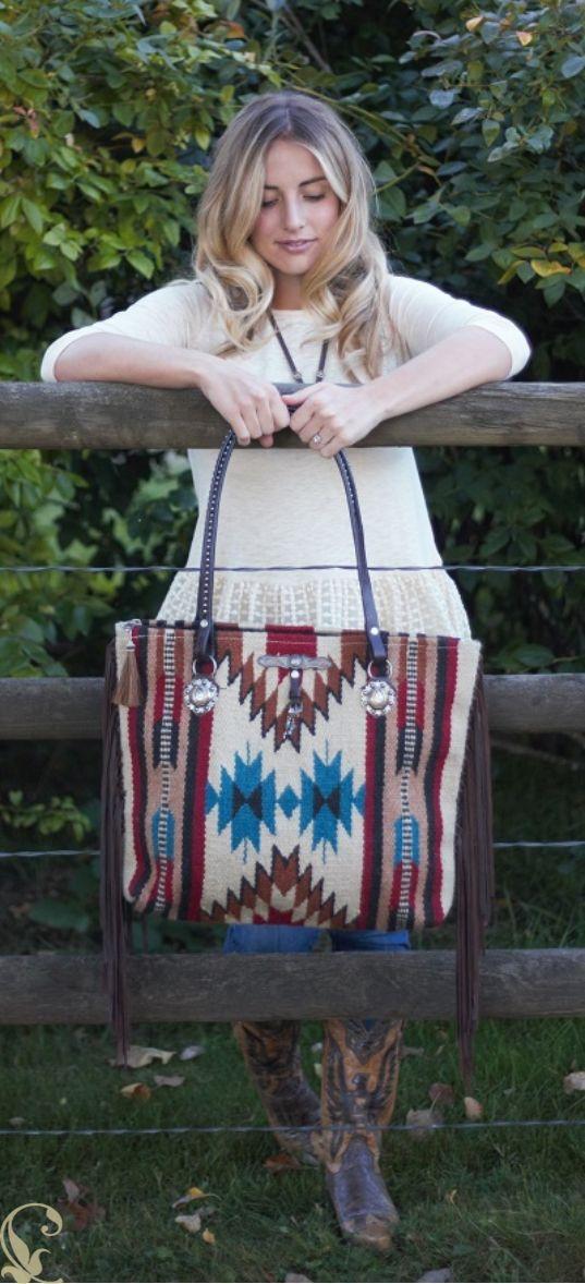 Saddle blanket purse made by Diamond57.com Fringe, horse rein handles, rustic trinkets, fringe. $145