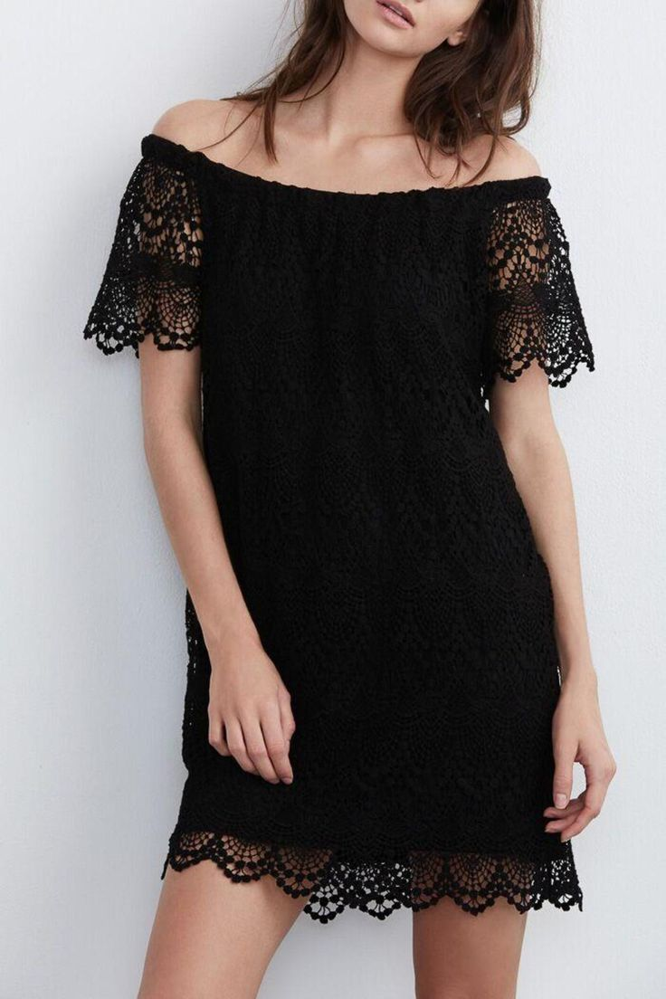 This crochet mini dress features lace up and features lining through the body.   Crochet Mini Dress  by Velvet. Clothing - Dresses - Mini Canada