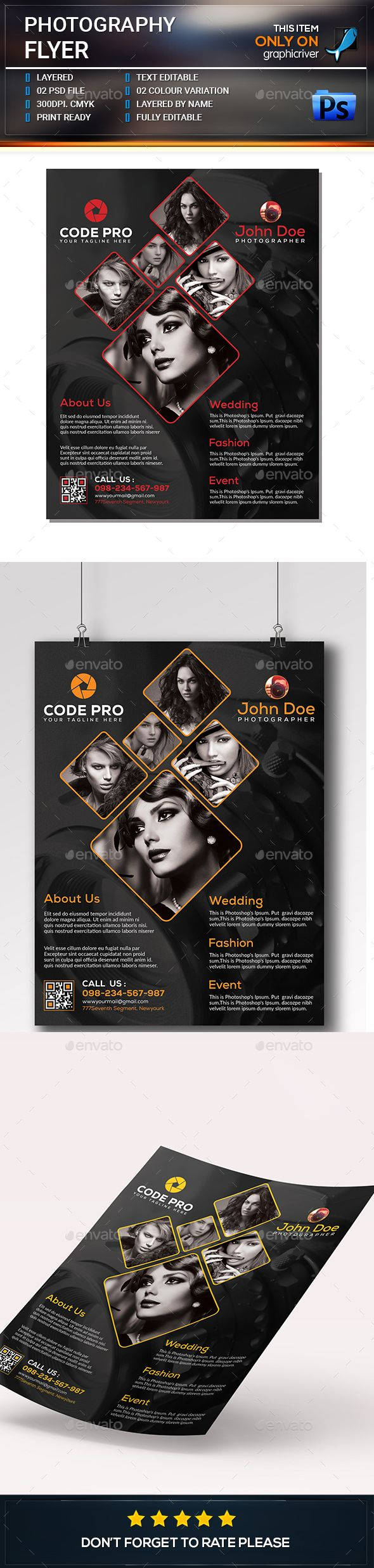 Photography Flyer Template PSD. Download here: https://graphicriver.net/item/photography-flyer/17224379?ref=ksioks
