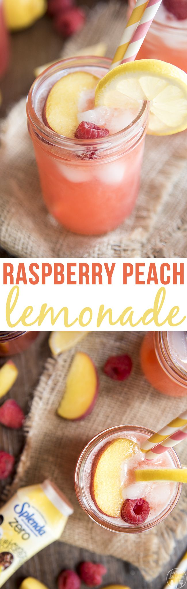 Raspberry Peach Lemonade - This lemonade is full of fresh raspberries and peaches perfect for sipping all summer long!