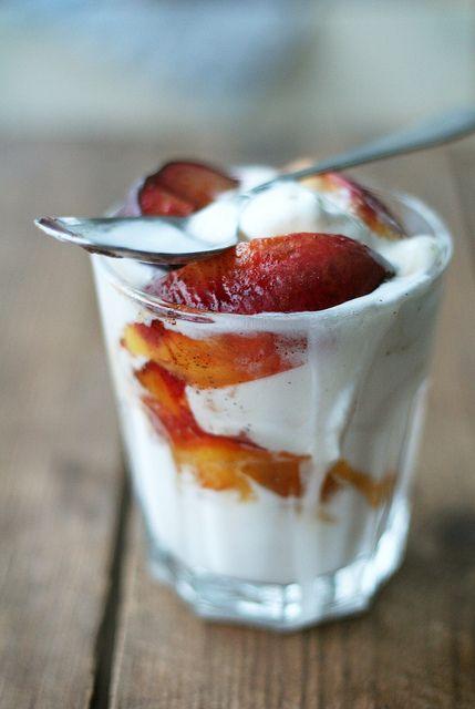 Baked fruit + ice cream.