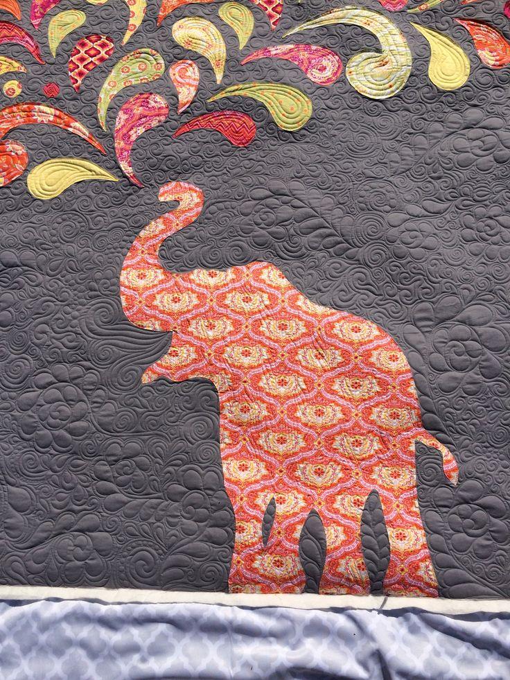 Paisley Splash Elephant Applique Quilt