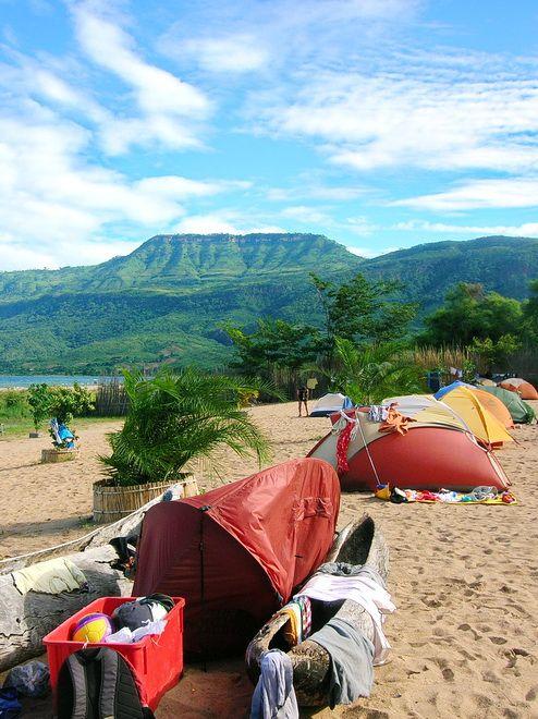 Beach camping beside Lake Malawi