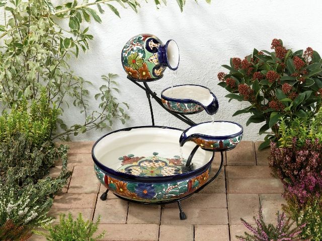 Talavera hand painted mexican ceramic cascade fountain for Mexican style outdoor fountains