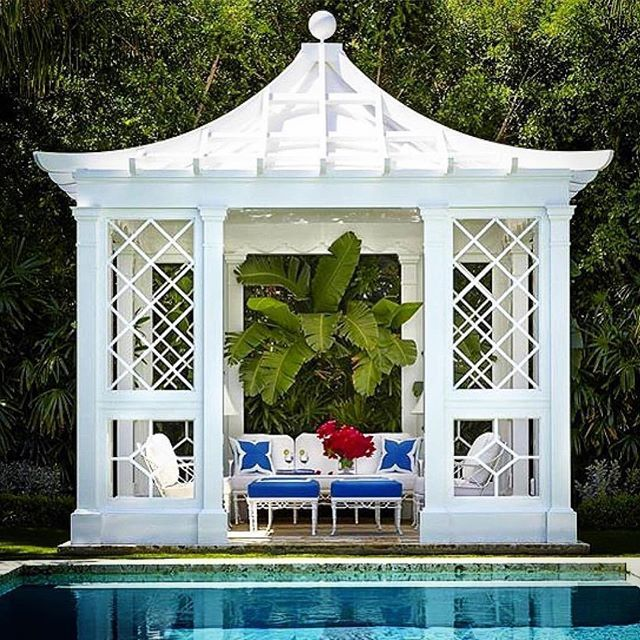 Repost from @stuartmemberyhome -- pretty much perfection : ) Pagoda gazebo with blue and white and a palm tree.  Wow.