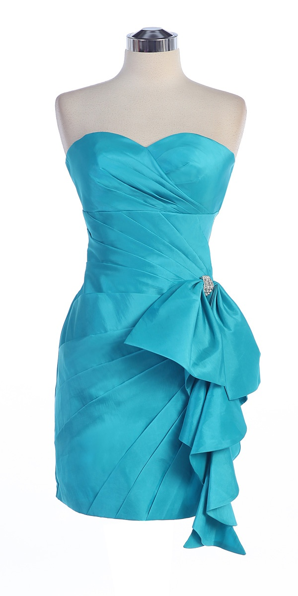 Click to enlarge : Aqua Taffeta Strapless Sweetheart Gathered Empire Waistline Ruffled Short Bridesmaid Dress - S1351