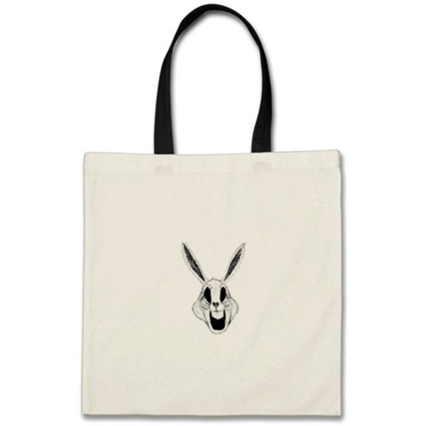Dead Bunny Budget Tote bag White/Black Budget Tote Bag | SnapMade.com ($17) ❤ liked on Polyvore featuring home, home improvement and storage & organization