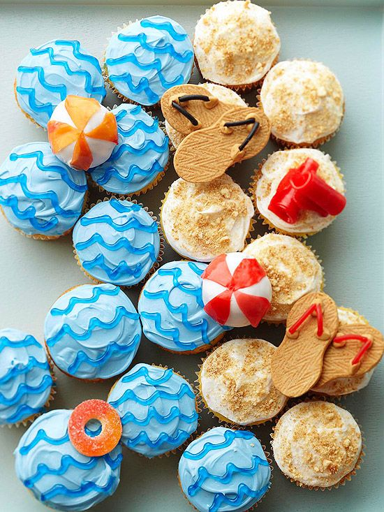 Having a summer bash? These Beach Party Cupcakes are a fun party dessert! Get the recipe here: http://www.bhg.com/recipe/cupcakes/swimming-party-cupcakes/?socsrc=bhgpin052113beachcupcakes