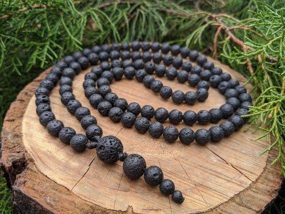 108 Beads Buddhist Mala Prayer Rosary Vulcanite Volcanic Rock Lava Necklace Hey I Found This Really Awesome Etsy Listin In 2020 Buddhist Mala 108 Bead Mala Beads Diy