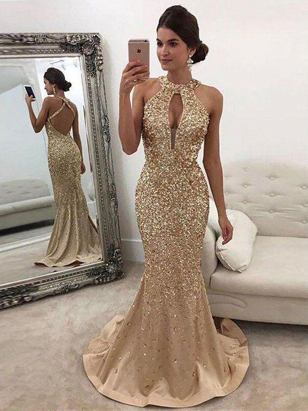 e022d712a24 Trumpet Mermaid Sleeveless Halter Sequin Sweep Brush Train Satin Dresses - Prom  Dresses - Hebeos Online